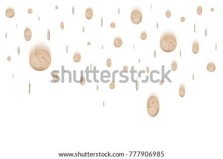 Rain from many falling one dollar coins isolated on white background, finance concept