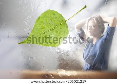 Rain. glass. window. - stock photo