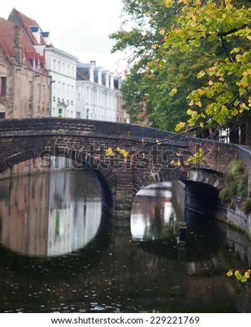 Rain in Bruges, Belgium - stock photo