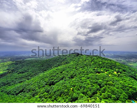 Rain is coming / Rain forest / Forest and clouds / View from Avala mountain / Serbia - stock photo