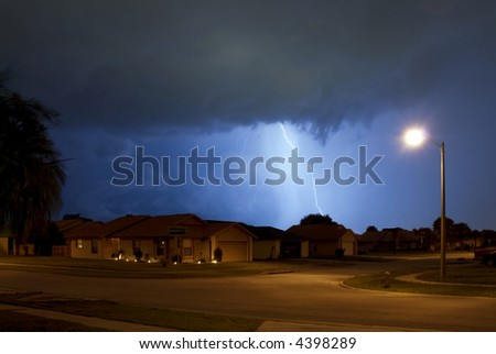 Rain, Lightning and thunder in Central Florida - stock photo