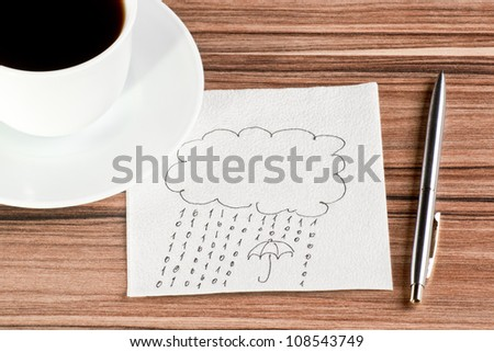 Rain of the numbers 1 and 0 on a napkin and cup of coffee - stock photo