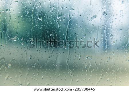 rain on glass  - stock photo