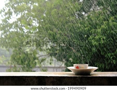 Rain on nature. Abstract background rain - stock photo