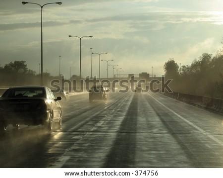 Rain on the Freeway - stock photo