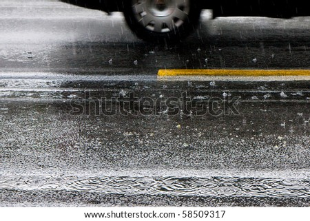 rain on the wet road - stock photo