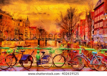 Rain over Amsterdam canal impressionist style oil painting - stock photo