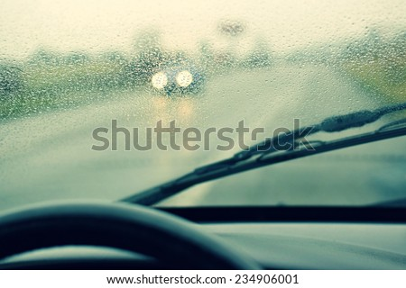 rain road - stock photo