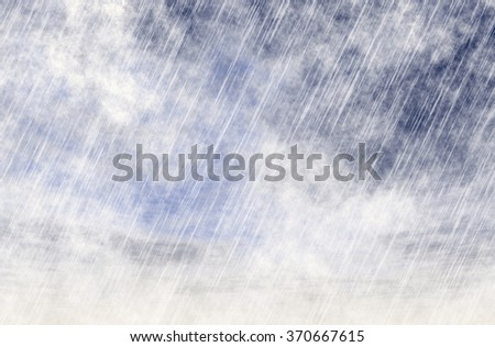 rain storm background in cloudy fog weather - stock photo