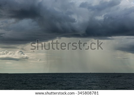 Rain storms are happening at sea.