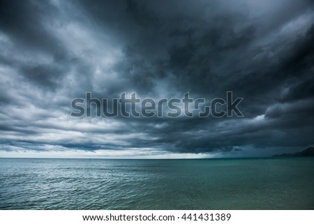 Rain storms are happening at sea,Koh Samui, Thailand