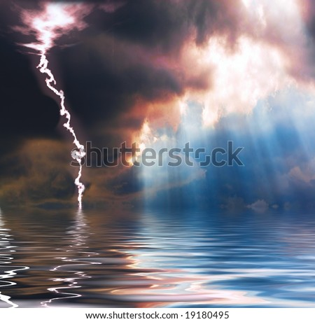 Rain, sunshine and lightning - stock photo