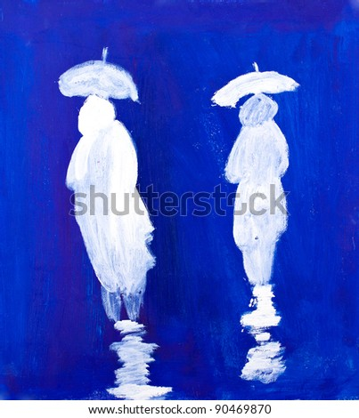 Rain Walkers painting in acrylic by Kay Gale