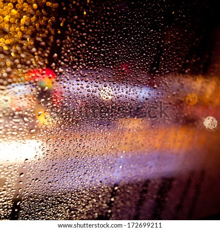 rain window on the car - stock photo