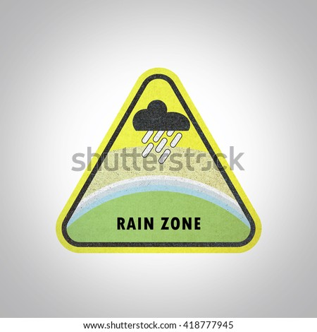 Rain zone area sign paper craft, recycled paper craft on white background - stock photo