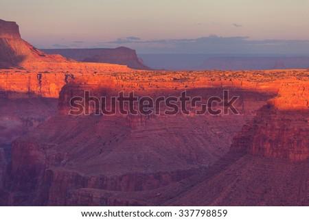 Rainbow above Grand Canyon - stock photo