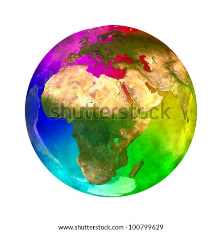 Rainbow and beauty planet Earth - Europe, Asia and Africa Elements of this image furnished by NASA