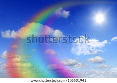 rainbow and sky abstract - stock photo