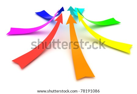 Rainbow arrows isolated on the white background - stock photo