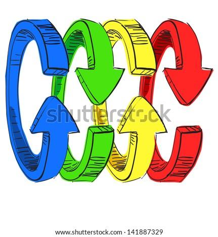 Rainbow arrows sketch illustration - stock photo