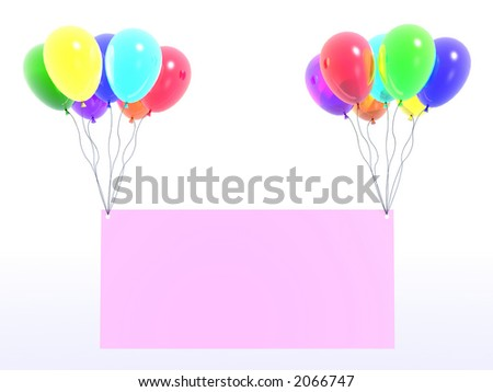 rainbow balloons with message (see more in my portfolio) - stock photo