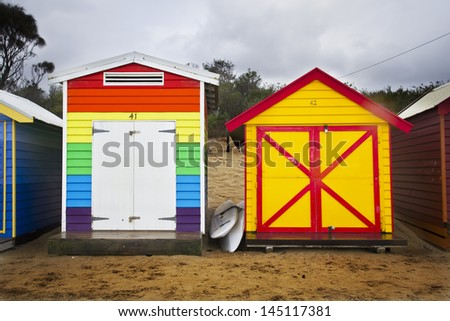 Rainbow bathing box and another one yellow.