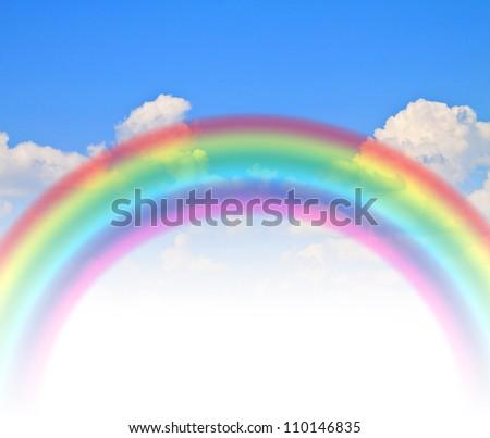 rainbow blue summer sky - stock photo