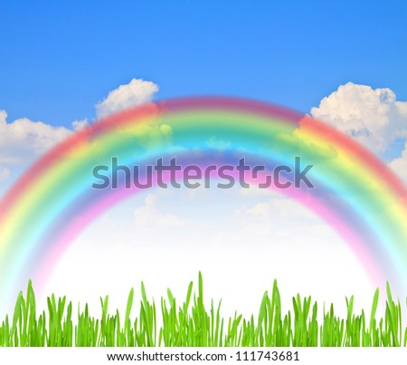 rainbow blue summer sky green grass - stock photo