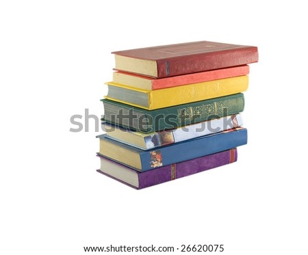 rainbow books isolated on white - stock photo