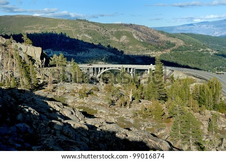 Rainbow bridge at Donner Pass in the California Sierra Nevada mountains