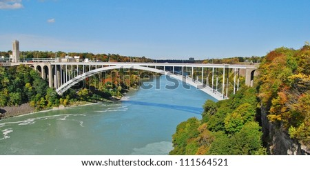Rainbow Bridge at Niagara Falls USA, and Canada Border - stock photo