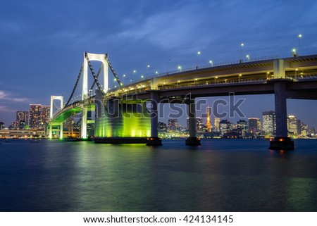Rainbow Bridge during Twilight in Tokyo, Japan