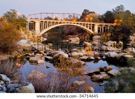 Rainbow Bridge in Folsom California - stock photo