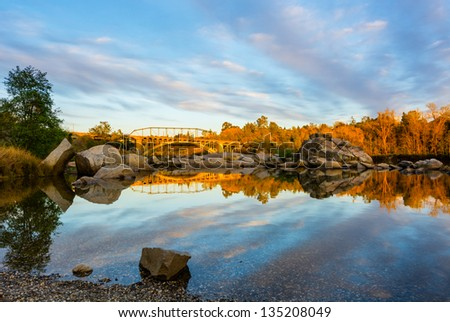 Rainbow Bridge in Folsom California at sunset - stock photo