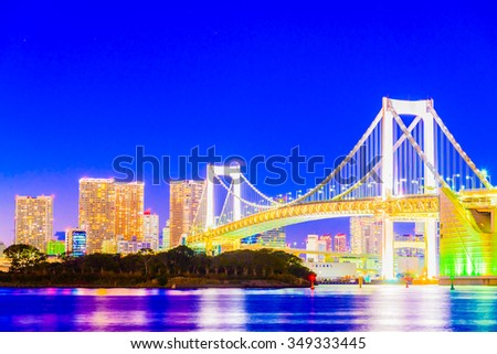 Rainbow bridge in Tokyo Japan at Twilight times