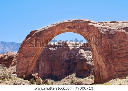 Rainbow Bridge Natural Arch, Lake Powell, Arizona - stock photo