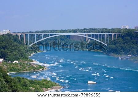 Rainbow Brigde over Niagara river - stock photo