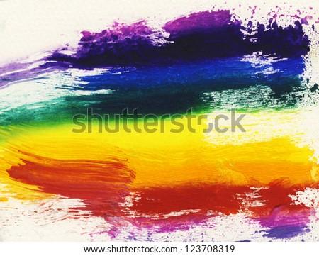 Rainbow brushstrokes - stock photo
