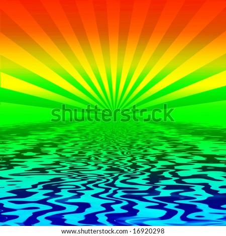 Rainbow Burst On Water - stock photo