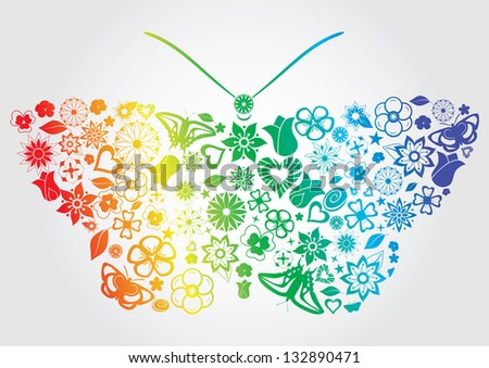 Rainbow butterfly with flowers, leaves, butterflies, and other objects. Raster version. - stock photo