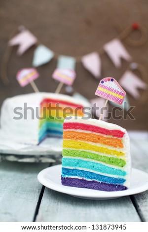 Rainbow cake - stock photo