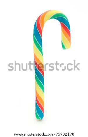Rainbow candy cane over white - stock photo