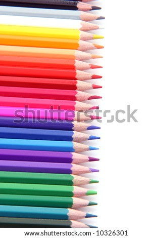 rainbow color pencils in a row isolated on white background