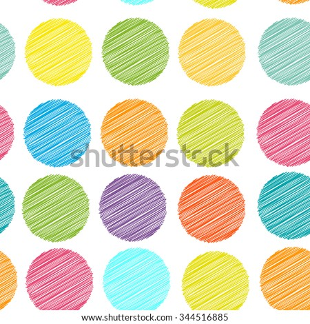 rainbow color Polka dot background, seamless pattern. embroidery stitches. scribble dot on white background.