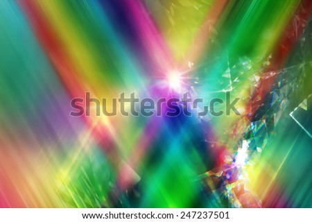 rainbow color rays with layered diamond refraction light triangles - stock photo