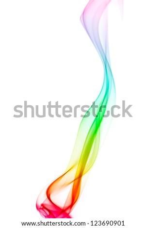 rainbow color smoke on white background - stock photo