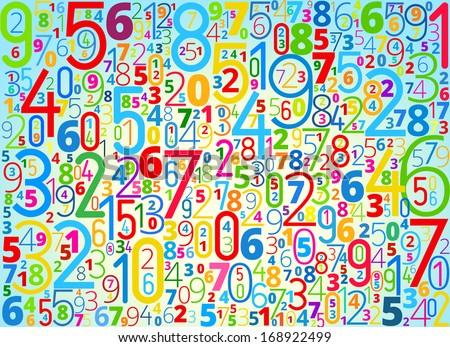 Rainbow colored background  from different numbers typography - stock photo