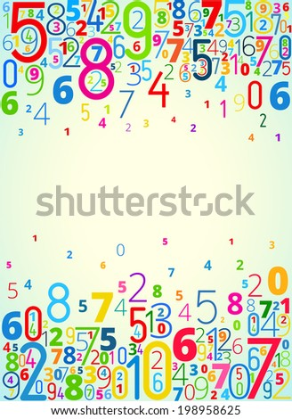 Rainbow colored background  from numbers with copyspace center
