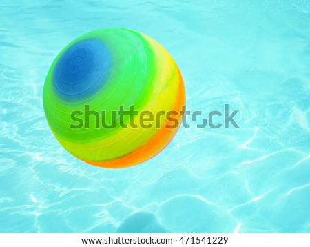 Rainbow colored balls floating in the pool.