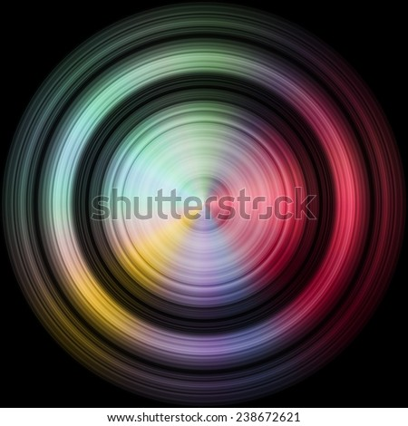 Rainbow colored disc, sphere in black background as hires texture. Drop fallen into oil liquid. - stock photo